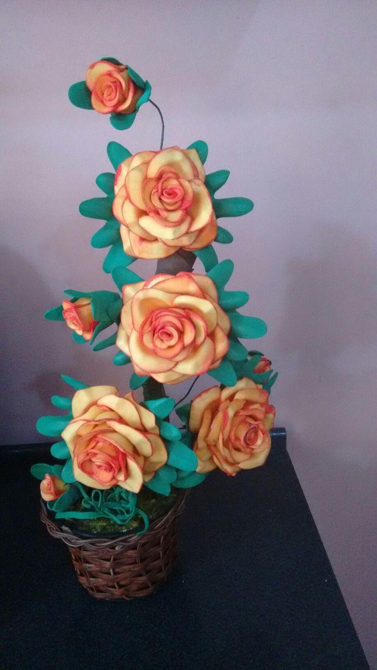 Rosas com bordas pintadas