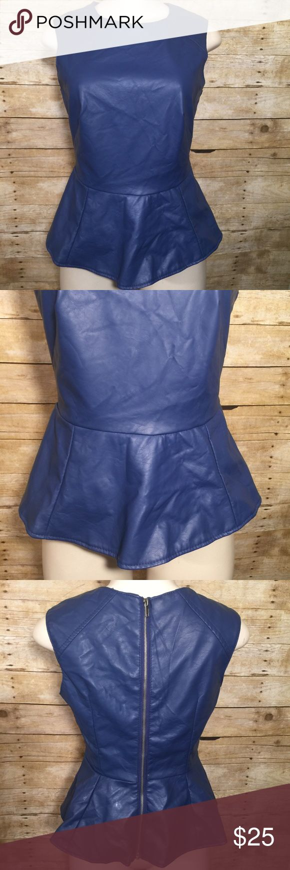"""Navy Blue Faux Leather Peplum Top So cute !! A great look !! CHEST 16 1/2"""" Length 20 1/2"""" Last Kiss Tops"""