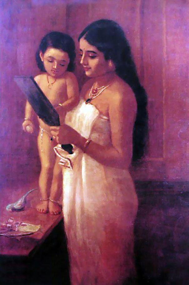 Looking Mirror. Raja Ravi Varma