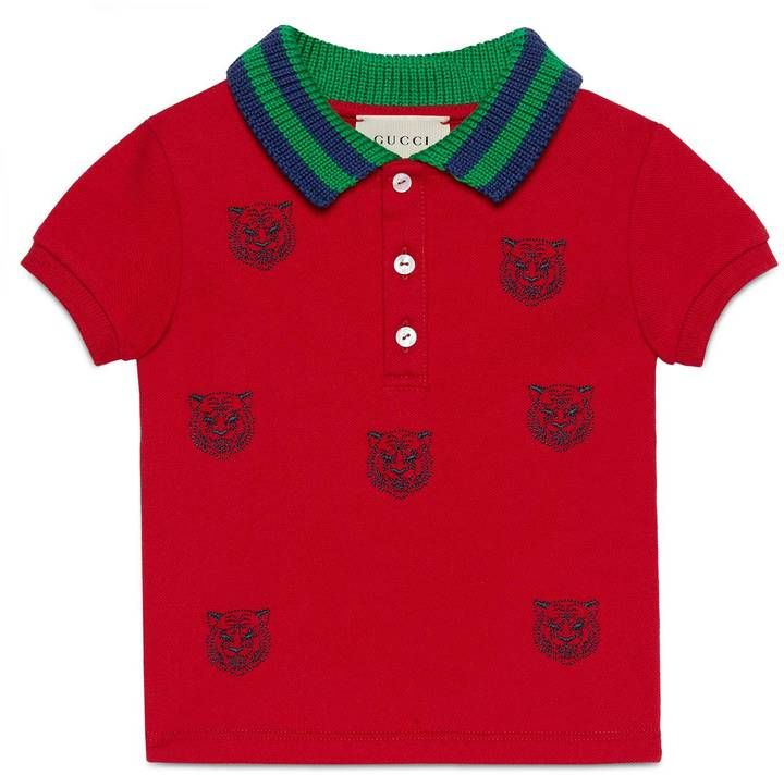 Baby polo with tiger heads embroidery  #ShopStyle #giftideas #holidays click for information or to buy.