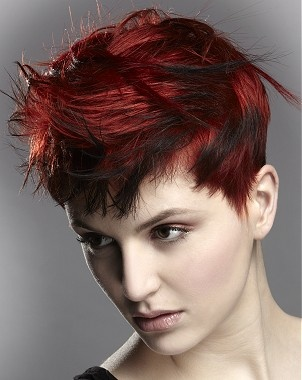 A short red straight coloured Multi-Tonal messy hairstyle by Anne Veck Hair
