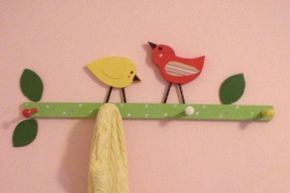 bird nursery, room decor, wooden birds, bird clothing rack, bird towel rack, bird bathroom, pink and green, girl nursery, kids clothing rack by TheWoodenOwl on Etsy https://www.etsy.com/listing/62759693/bird-nursery-room-decor-wooden-birds