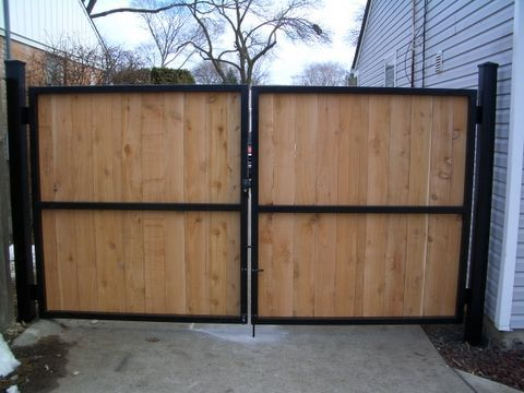 Black Metal Wood Fence And Gate Google Search