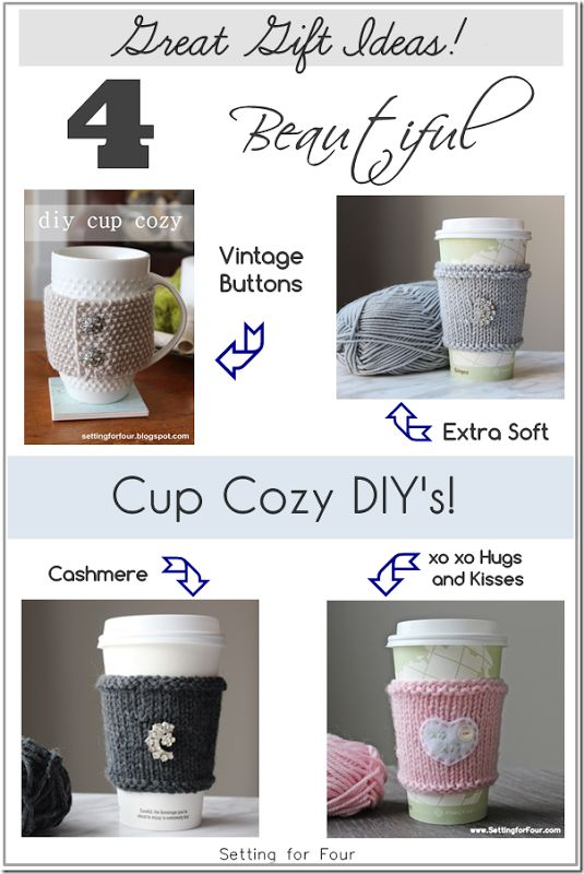Great gift idea or make for yourself! 4 Quick Knit Cup Cozy DIY's