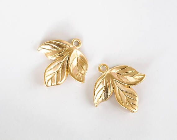 2722 Gold leaves connector 22 mm Gold plated leaves Brass