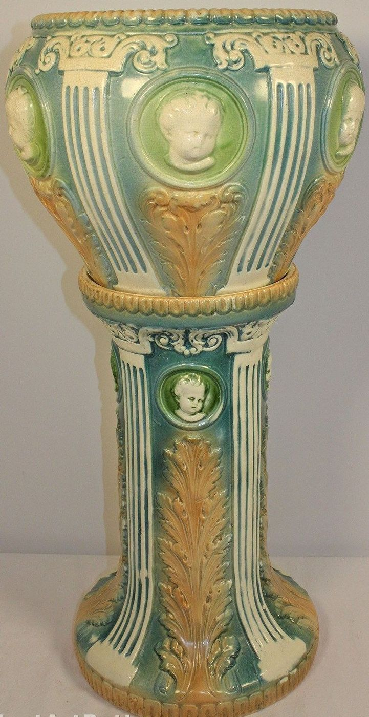 88 best jardinire images on pinterest art nouveau flower vases roseville pottery cameo cherub jardiniere and pedestal from just art pottery reviewsmspy