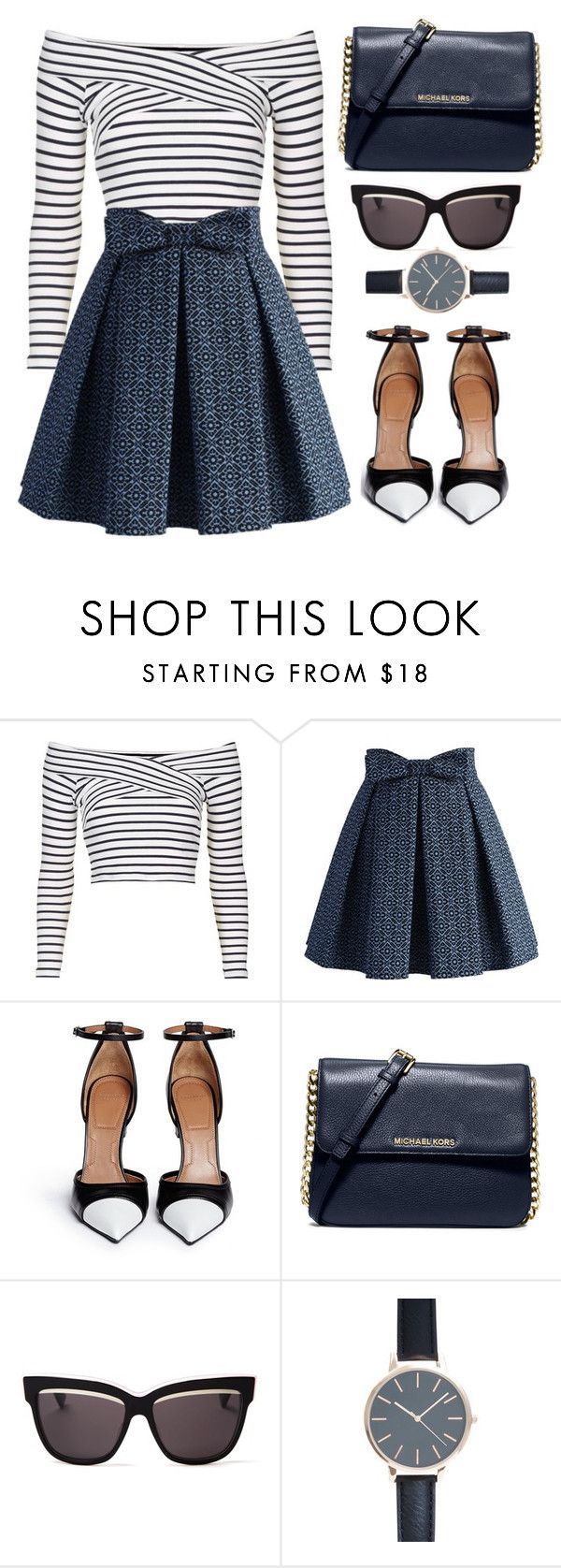 """Striped Shirt"" by the-messiah ❤ liked on Polyvore featuring Topshop, Chicwish, Givenchy, MICHAEL Michael Kors and Christian Dior"