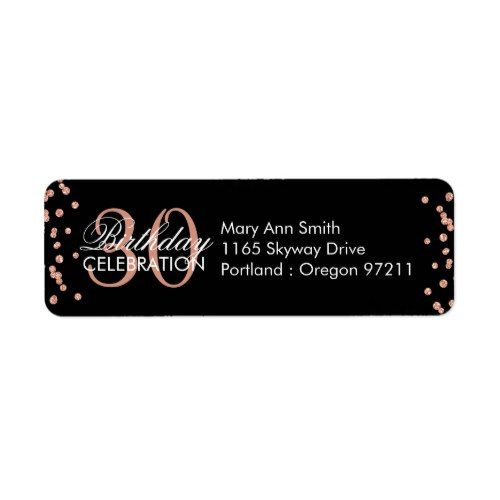 Rose Gold 30th Birthday Glitter Confetti Black Label