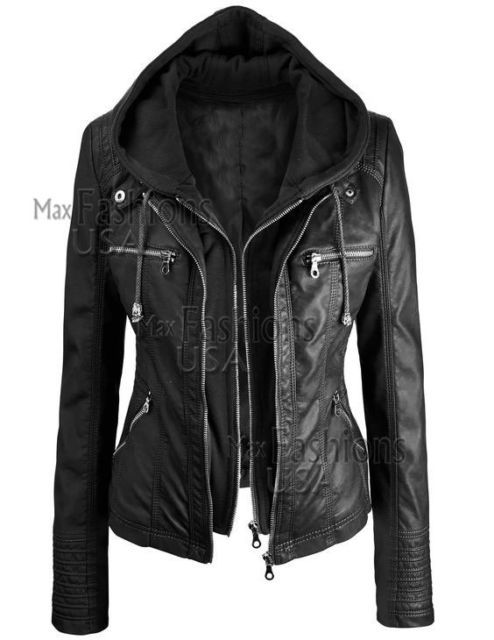 Women's Motorcycle Brando Style Biker Real Leather Hoodie Jacket - Detach Hood 7