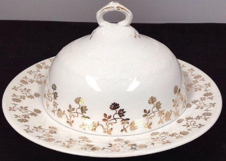 1900-1919 Antique Homer Laughlin King Charles Butter Dish #HomerLaughlin
