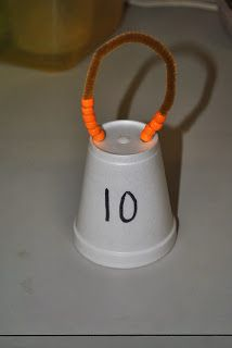 ways to make ten using pipe cleaner, beads, and a cup