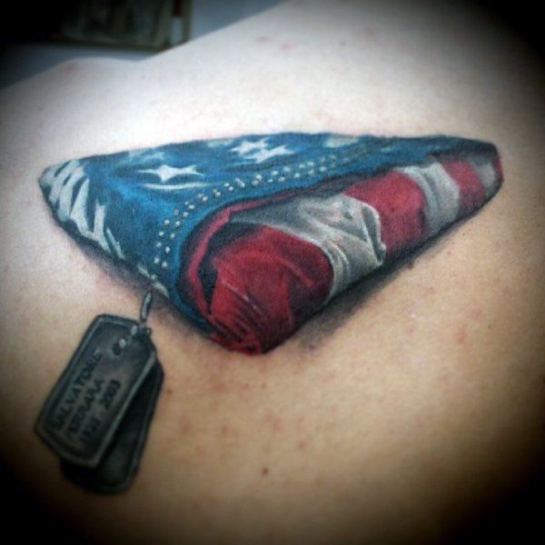 Dog Tag Tattoos With Folded American Flag On Back - If I were in the military this would the one I'd get. Great work.