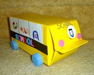 Back to school craft school bus with milk carton