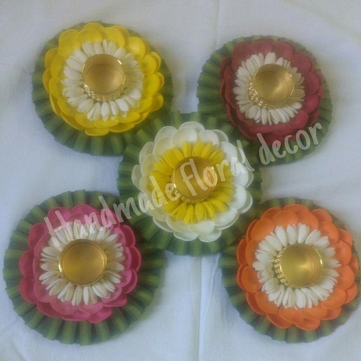 Handmade foam flowers Floating floral tlite holders