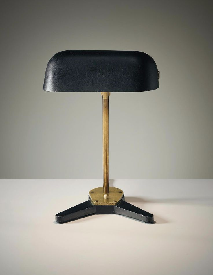 Arne Jacobsen; Enameled Metal, Brass and Bakelite Table Lamp by Louis Poulsen for Aarhus City Hall, 1938-1941.