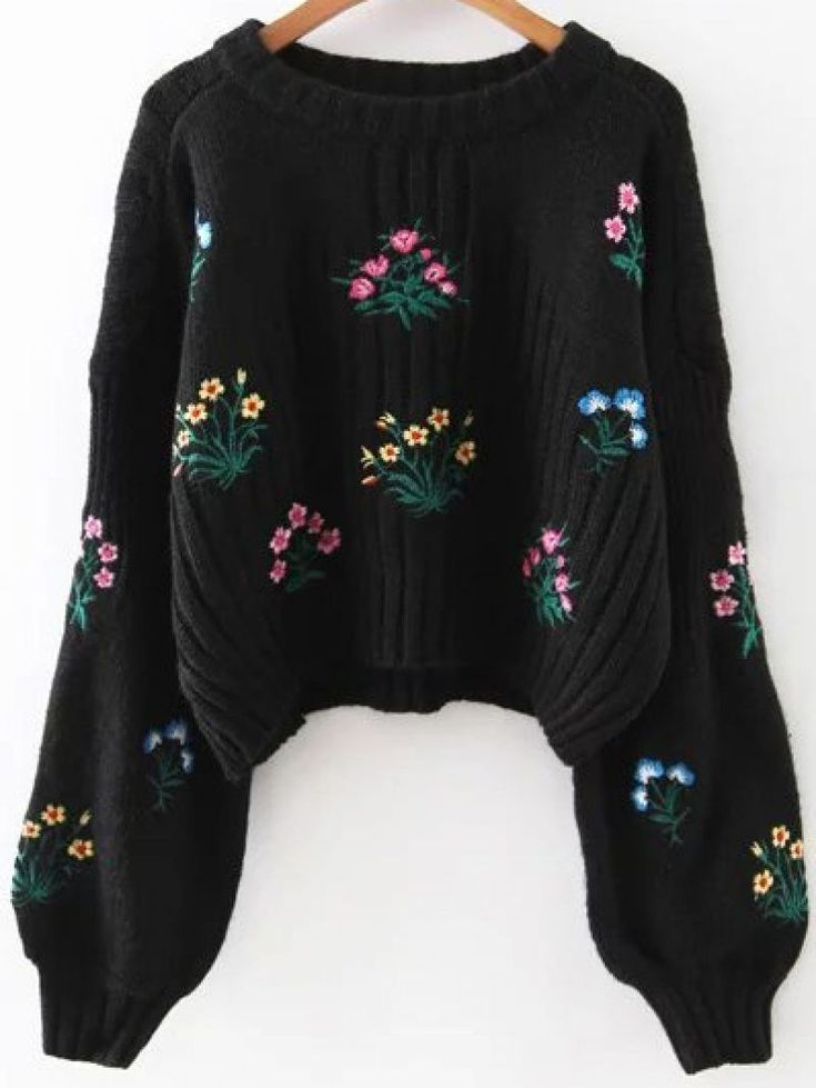 Buy Black Flower Embroidery Drop Shoulder Sweater From