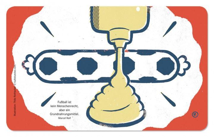 """""""Thilo Rothacker: Frühstücksbrettchen mit Fußball-Illustration Motiv Reif""""  Der Illustrator Thilo Rothacker hat Glanzlichter aus dem reichen Zitatenschatz der Fußballwelt exklusiv für Kultstücke treffsicher und humorvoll illustriert, hier: Fußball ist kein Menschenrecht, aber ein Grundnahrungsmittel. (Marcel Reif)"""