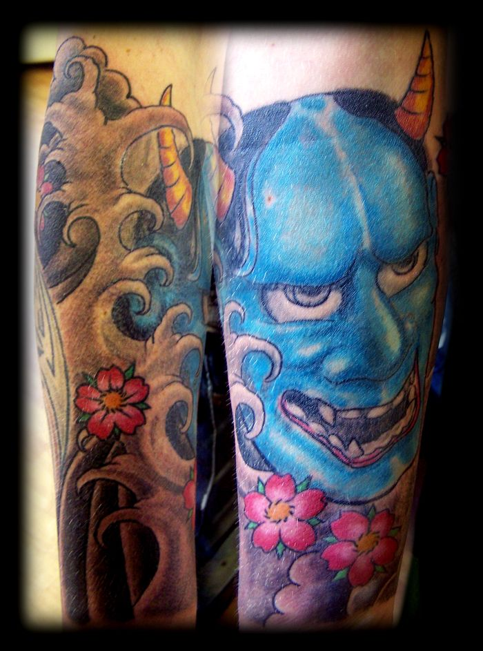 Hannya Mask With Flower Tattoo Designs | Tattoobite.com