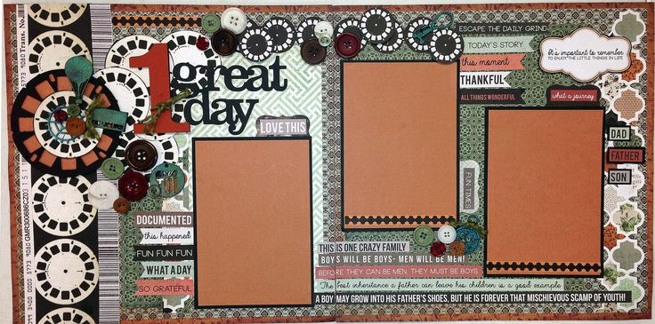 """1 Great Day Layout kit - Designed by Beatriz Guzman for Treasured Memories, Lafayette. We used the """"Mr. Fox"""" paper line from Kaisercraft."""