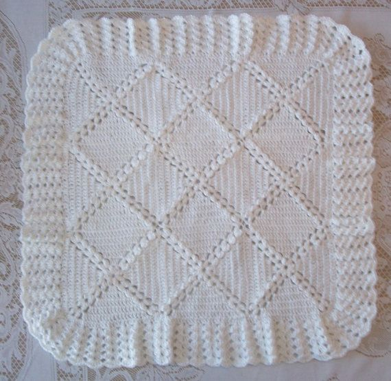 Crochet White Baby Blanket and Bonnet or by MADEWITHLOVEBYSUZIEQ
