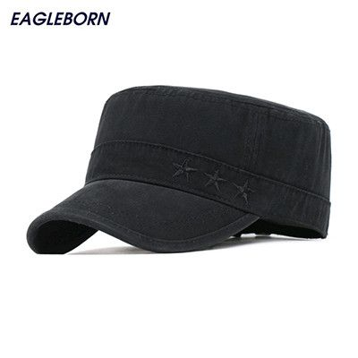 100% Cotton Grey Flat Roof hats Men Exquisite Embroidery Vintage Bush Male Army Hat Cadet Patrol Cap Gorras Plana Military