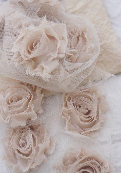 1 yard of chiffon roses on tulle