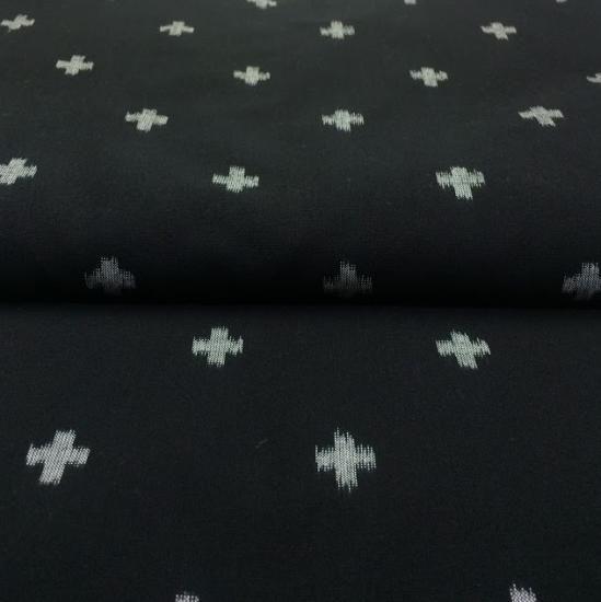 立絣十字柄黒 - 久留米絣織元 下川織物
