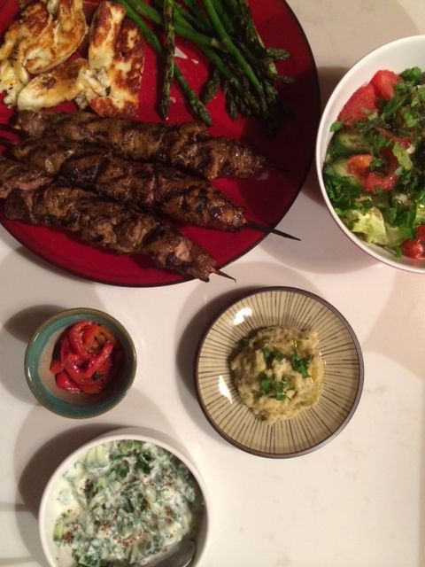 Chargrilled skewers, homemade dips and haloumi
