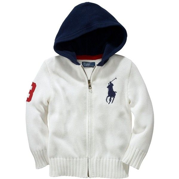 Ralph Lauren Childrenswear Boys' Big Pony Hooded Sweater - Sizes 2T-7 ($30) ❤ liked on Polyvore featuring babies and kids