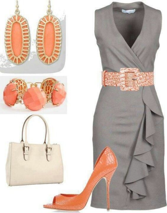 Gray dress. Peachy orange accessories.