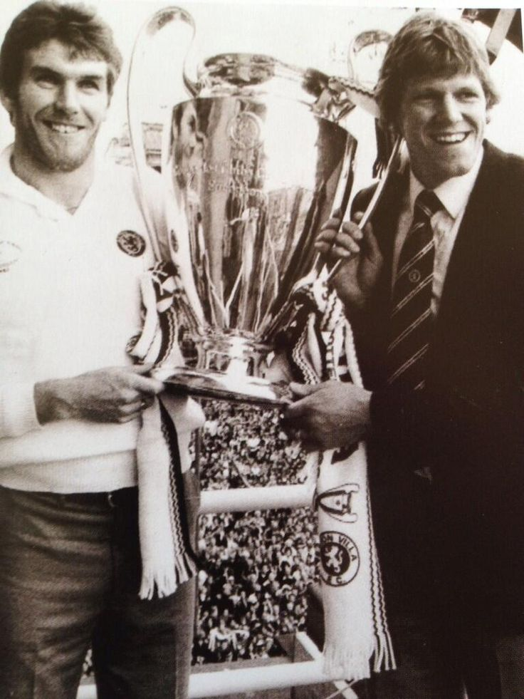 Peter Withe and Nigel Spink of Aston Villa with the European Cup