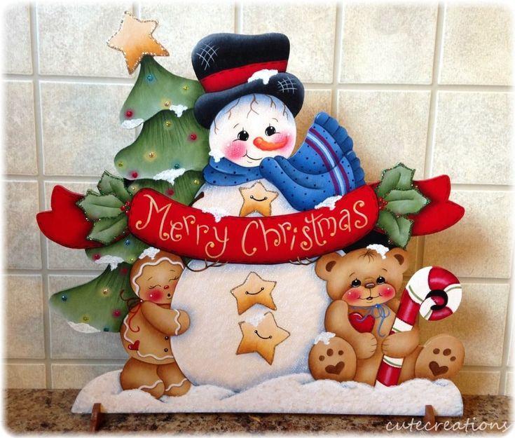 HP SNOWMAN Gingerbread, Teddy Bear, Merry Christmas SHELF SITTER