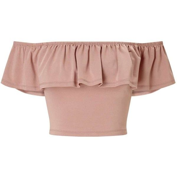 Miss Selfridge Nude Slinky Bardot Crop Top (99 BRL) ❤ liked on Polyvore featuring tops, peach, frill top, frill crop top, frilly tops, peach crop top and ruffle crop top