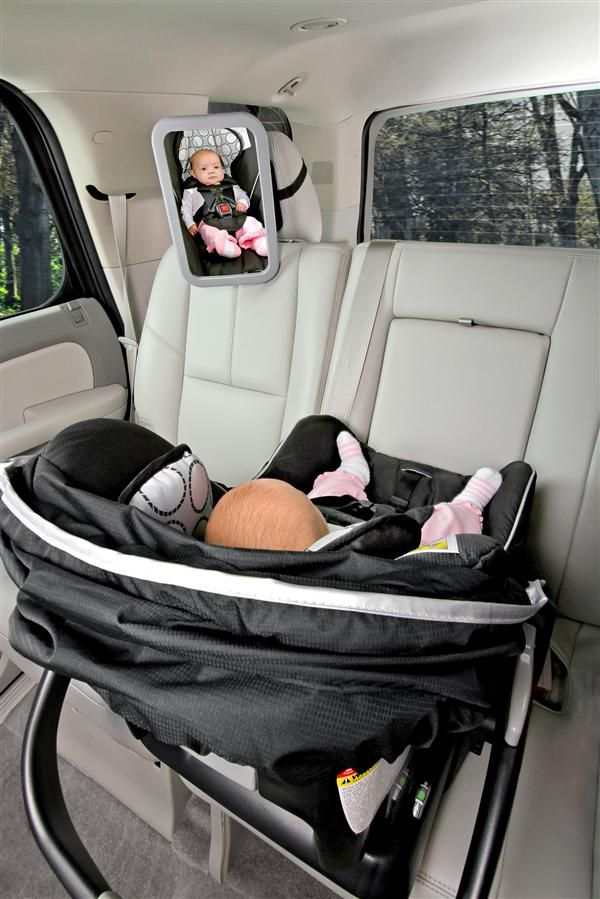 The Britax Back Seat Mirror is shatter-proof and reflects a head-to-toe view of baby.