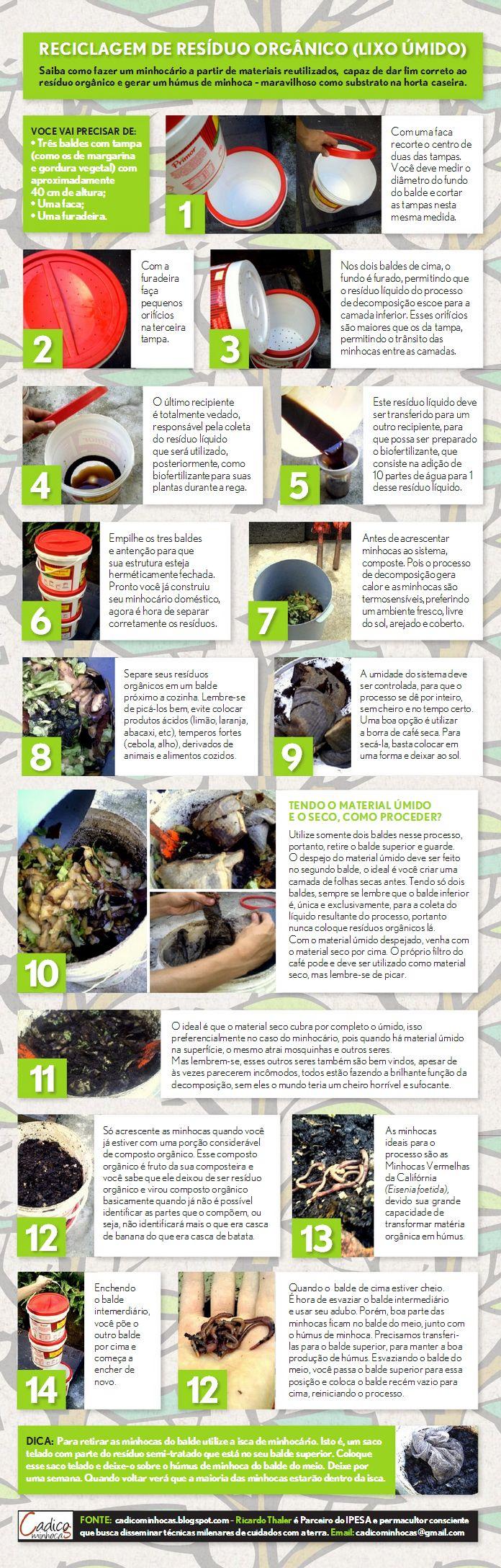Saiba como fazer um #minhocario a partir de materiais reutilizados, capaz de dar fim correto ao resíduo orgânico e gerar húmus de minhoca.