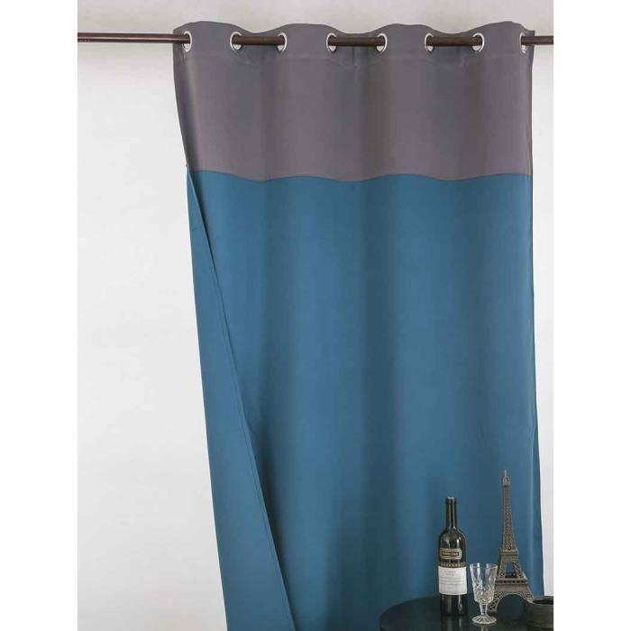 rideau occultant bicolore gris bleu