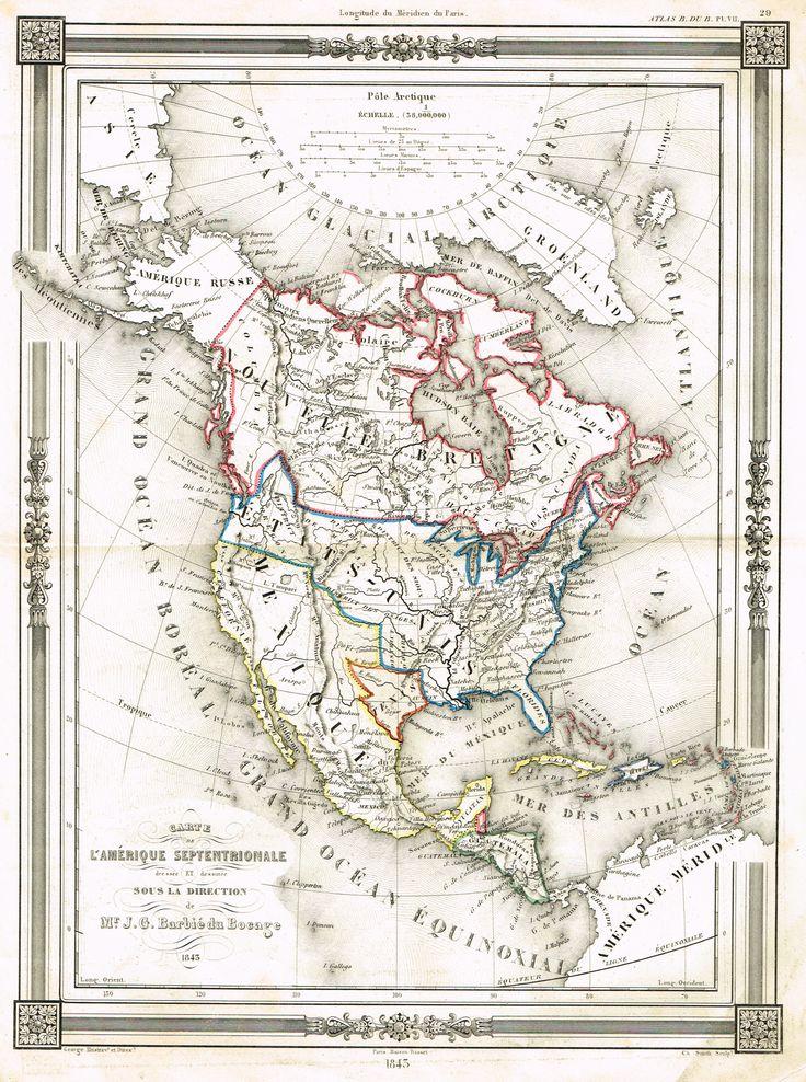 Carte - Amérique Tome I - Histoire pittoresque des voyages par L.-E. Hatin - 1844 - MAS Estampes Anciennes - Antique Prints