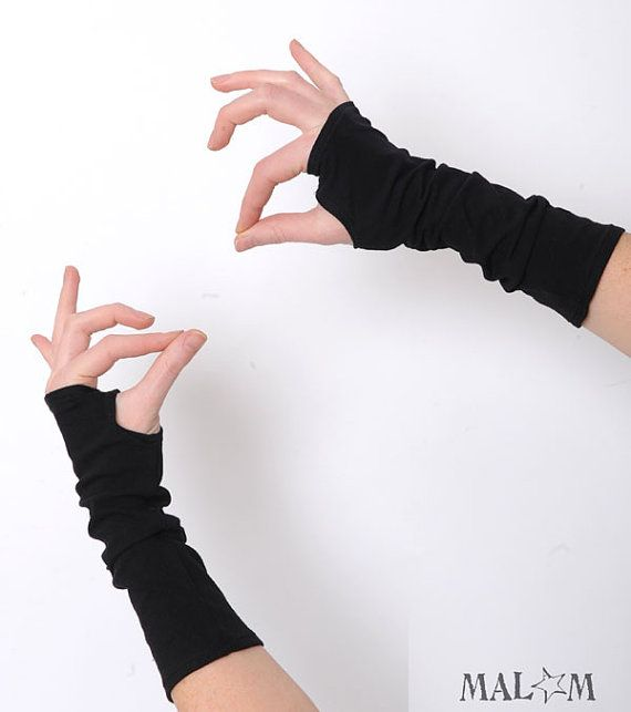 Black fingerless gloves  black jersey  one size by Malam on Etsy, €18.00