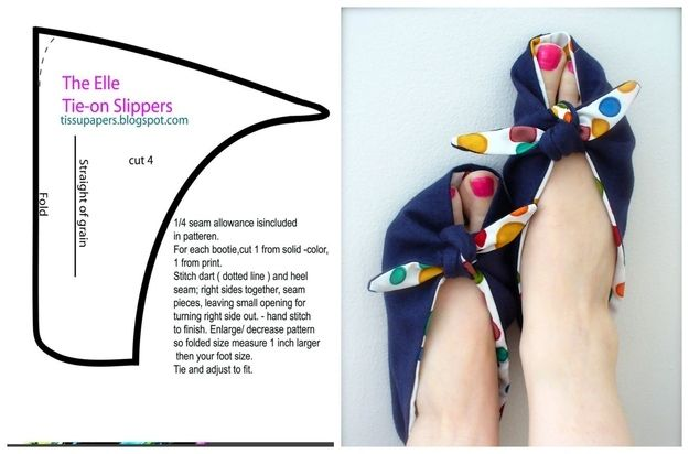 Tie-on Slippers | 10 Adorable DIY Slippers That Will Give You The Warm Fuzzies