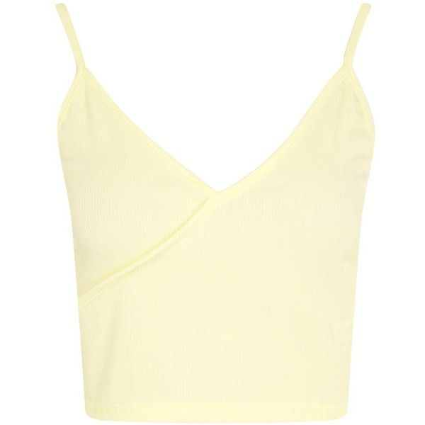 Boohoo Holly Wrap Front Rib Crop Top (3.045 KWD) ❤ liked on Polyvore featuring tops, off the shoulder crop top, beige crop top, camisole tops, bralette crop top and crop top