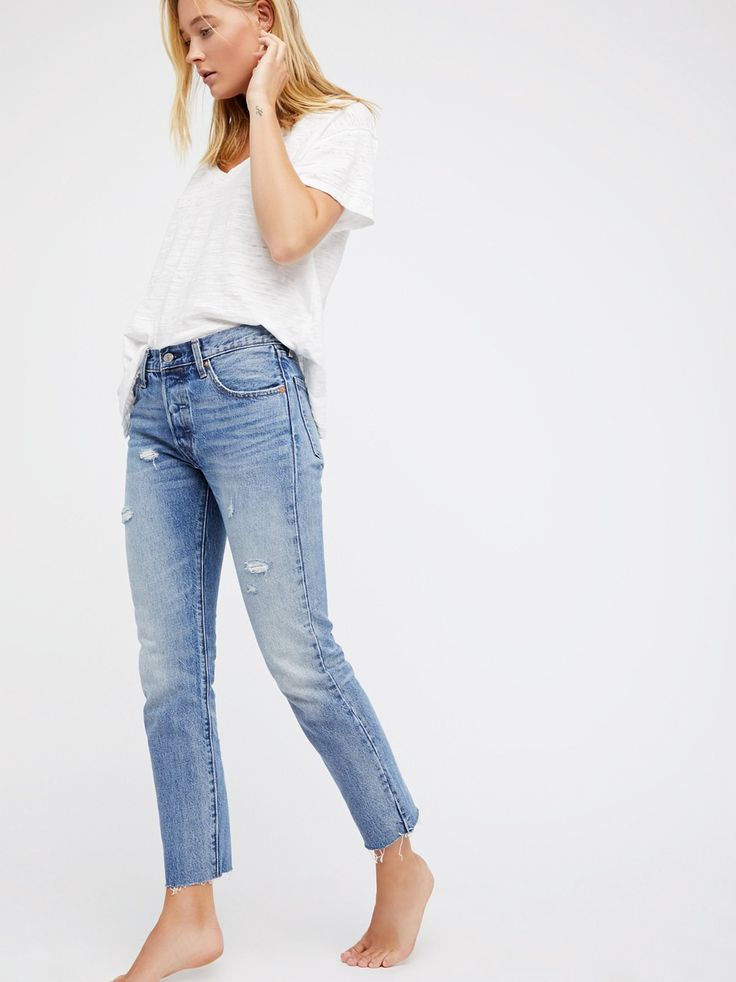 501 Original Japanese Denim Jeans | Made from premium denim made in Japan, these mid-rise jeans are fitted through the hips and thighs with distressed detailing throughout. * Ankle grazing inseam * Raw hem * Five-pocket style * Button fly **Fit:** May run small, we recommend sizing up.