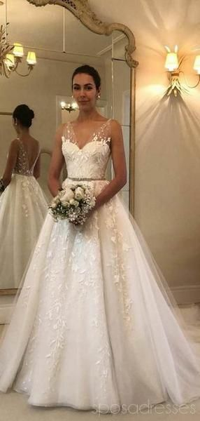 Elegante Spitze V-Ausschnitt Backless Günstige Brautkleider Online, Günstige B… – Hochzeitskleid
