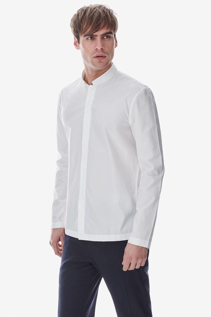 Camisa de algodón con cuello mao - LABEL_NUEVO | Adolfo Dominguez shop online