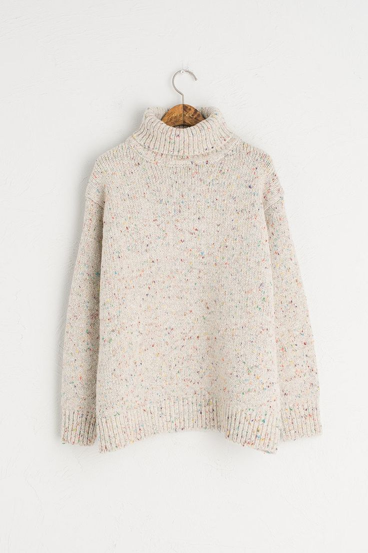 Boucle Roll Neck Jumper, Ivory