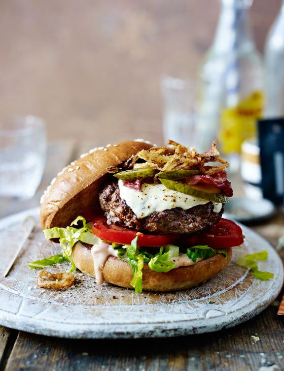 Mozzarella beef burgers with spicy fried onions... is this the ultimate burger?