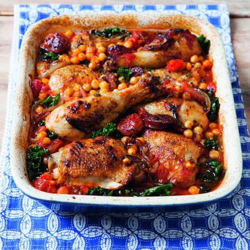 Chicken with Chorizo, Chickpeas and Kale | sheerluxe.com
