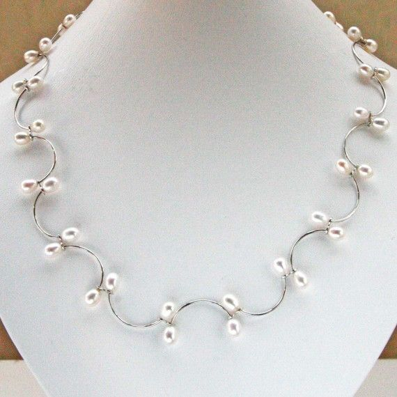 Such a delicate necklace and earring set, with real freshwater pearls! Handmade on etsy!