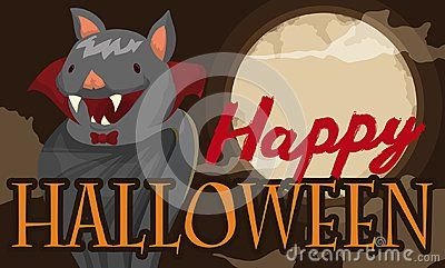 Banner with cute disguised bat as a vampire lord in a misty night of full moon and bloody text for a funny and happy Halloween.