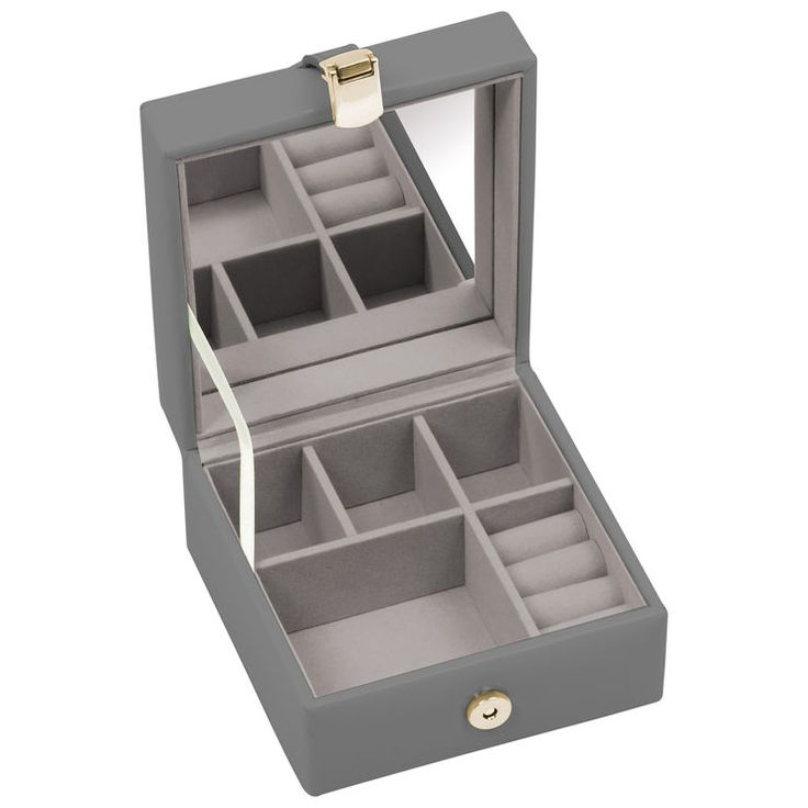 Small Jewelry Box with Ring Grey