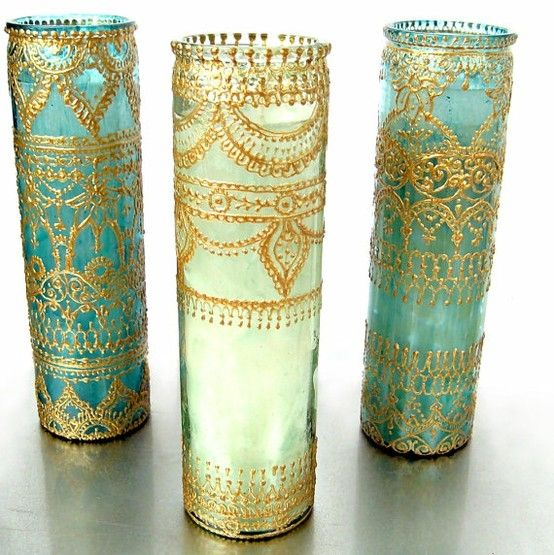 Mehndi Diy Decor : Decorate glass with gold puff paint the possibilities are